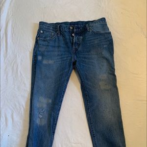 lightly distressed high waisted Levi 501s size 30